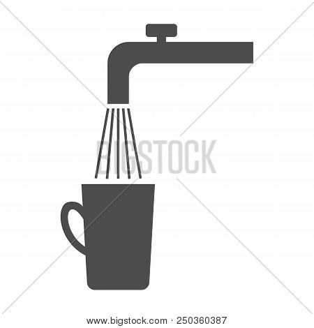 Spigot, Tap Water And Cup. Vector. Isolated On White Background.