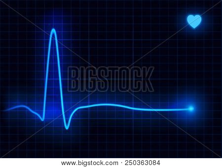 Vector Illustration Of Heart Line Cardiogram. Heart Pulse