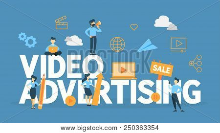 Video Marketing Concept. Digital Advertising On The Website. Product Promotion And Money Making Thro