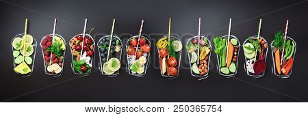 Food Ingredients For Blending Smoothie Or Juice On Painted Glass Over Black Chalkboard. Top View Wit