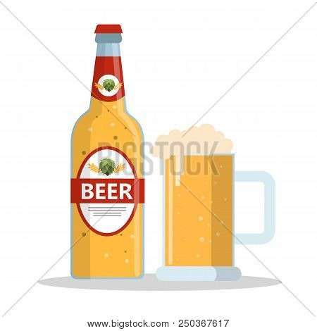 Bottle Of Beer And Glass Mug With Foam. Alcohol Drink. Isolated Flat Vector Illustration