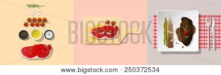 Set Of Strip Loin Steak Recipe , Preparation Cooking And Plating , Vector , Illustration