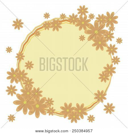 Round Frame Wreath Of Orange With A Composition Of Flowers With Yellow Median Vector Object Isolated