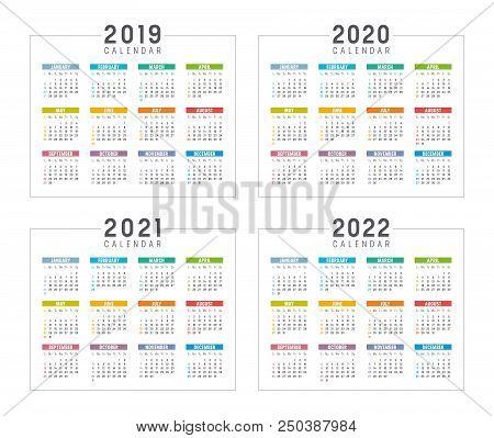 Set Of Minimalist Colorful Calendars, Years 2019 2020 2021 2022, Weeks Start Sunday, On White Backgr