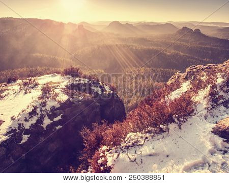 Misty Sunrise In The Mountains The Gradation Of Color Clouds. Misty Daybreak In A Beautiful Hills. P