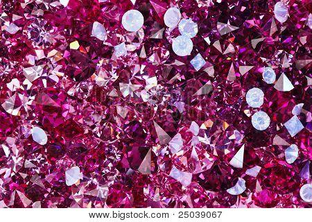 Many Small Ruby Diamond Stones, Luxury Background