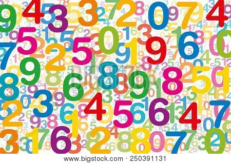 Colored Numbers On White Background. Randomly Distributed Overlapping Numerals. Symbol For Numerolog