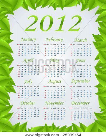 Vector green calendar 2012