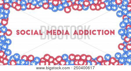May 01, 2018: Social Media Addiction. Social Media Icons In Abstract Shape Background With Scattered