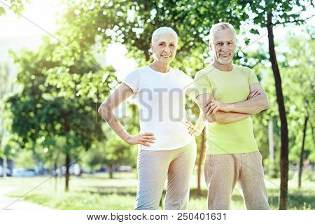 Aged couple. Pleasant positive aged couple standing together in a beautiful park poster