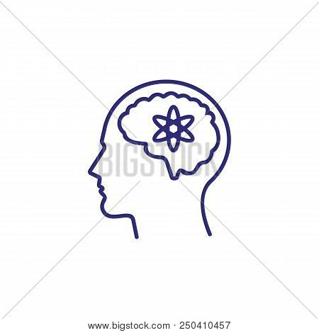 Sensible Mind Line Icon. Head, Brain, Man, Atom. Intelligence Concept. Can Be Used For Topics Like B