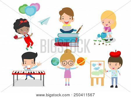 Set Of School Kids In Education Concept,happy Cartoon Kids In Classroom,children Playing And Lifesty