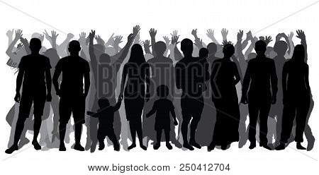 Silhouettes Of People In Full Growth, Crowd. Cheerful People. Vector