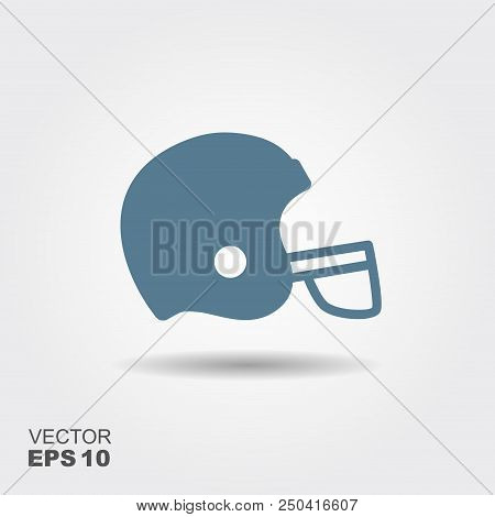 American Football Helmet, Football Sport Icon With Shadow. Football Flat Design