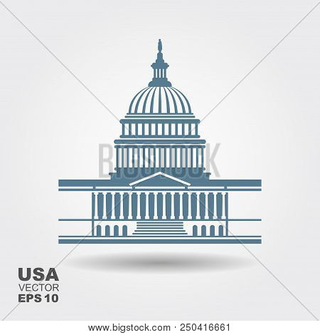 United States Capitol Building Icon In Washington Dc. Flat Vector Icon