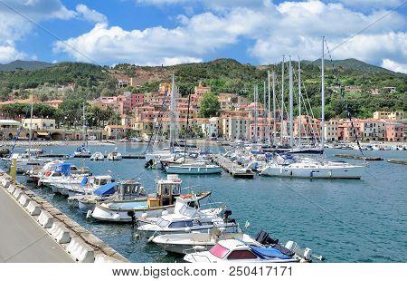 In Harbor Of Rio Marina On Island Of Elba,mediterranean Sea,tuscany,italy