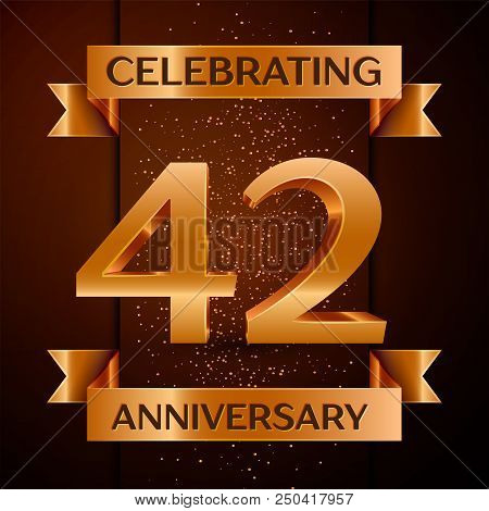 Realistic Forty Two Years Anniversary Celebration Design Banner. Golden Number, Confetti And Ribbon