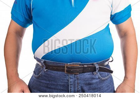 Man With Unhealthy Big Tummy With Visceral Or Subcutaneous Fats