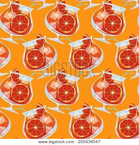 Aperol Spritz Cocktail With A Slice Of Orange. Traditional Summer Drink. Seamless Background Pattern