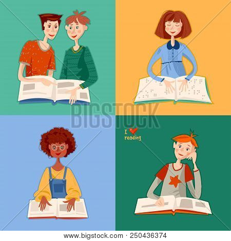 School Reading Club. Girls And Boys Reading Books. Blind Girl Reads A Book In Braille. Literacy Day.