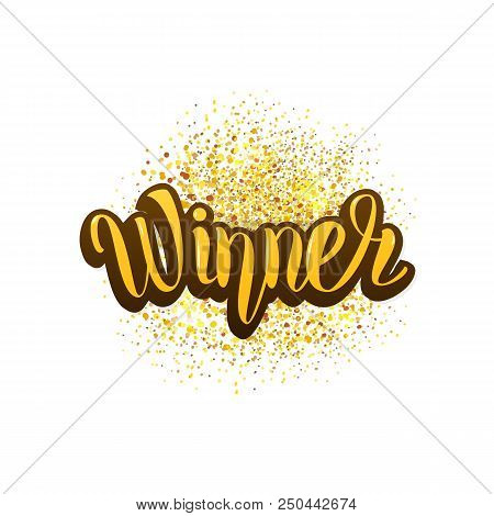 Winner Lettering With Gold Glitter Texture Isolated On White Background. Winner Card For Social Medi