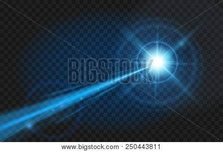 Blue Laser Beam. Glow Party Laser Beams Abstract Effect Isolated On Transparent Background
