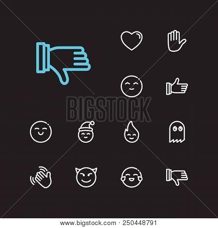 Emoji Icons. Set Of Thumb Up, Emoji Fire And Devil Emoji Vector Sign Symbols. Vector Illustration Of