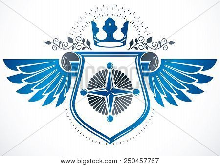 Vintage Winged Heraldry Design Template With Cartouche, Vector Emblem Composed Using Royal Crown And