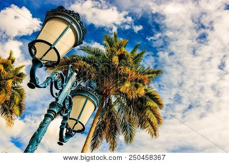 Cloudy Sky, Palms And Street Lamp In Fort De France, Martinique Island.  Fort De France Is The Capit