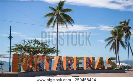 Downtown Puntarenas, Costa Rica. View Over The Shore Of The Port Of Puntarenas, And The Touristic Si