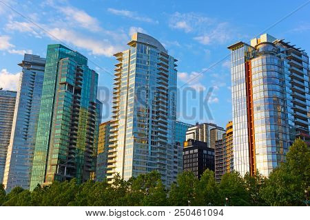 Vancouver Downtown Panorama At Sunrise In Summer. Modern Buildings Architecture Near Harbor Waterfro