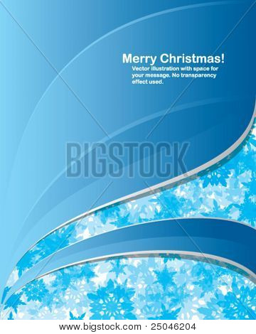 Vector. Modern Christmas background with random transparent snowflakes