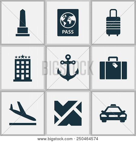 Journey Icons Set With Roads, Monument, Taxi And Other Map Elements. Isolated Vector Illustration Jo
