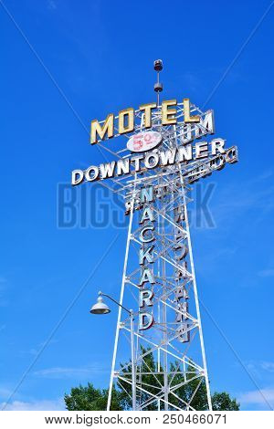 Flagstaff, Az - July 23, 2017: Neon Sign Of The Downtowner Motel, One Of The Old Former Hotels Along