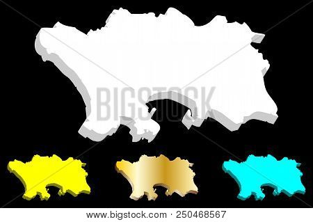 3d Map Of Jersey (bailiwick Of Jersey) - White, Yellow, Blue And Gold - Vector Illustration