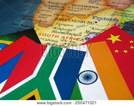 Flags Of The Brics Countries On The South Africa Map. Concept For Summit Of Brazil, Russia, India, C