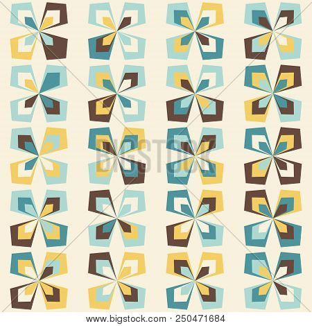 Midcentury Geometric Retro Pattern, Vintage Colors