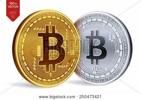 Bitcoin And Bitcoin Cash. 3d Isometric Physical Coins. Digital Currency. Cryptocurrency. Golden And