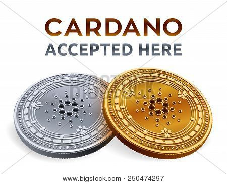 Cardano. Accepted Sign Emblem. Crypto Currency. Golden And Silver Coins With Cardano Symbol Isolated