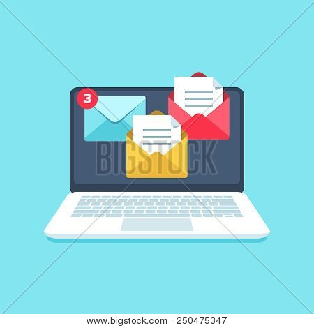 Flat Email Messages Inbox Notification. Laptop Computer Screen Alertness Sms Marketing Computer Noti