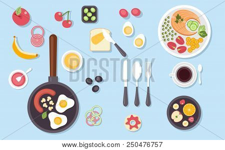 Big Set Of Various Food Dishes Isolated. Top View For Cuisine Of Different Countries In Flat Design.