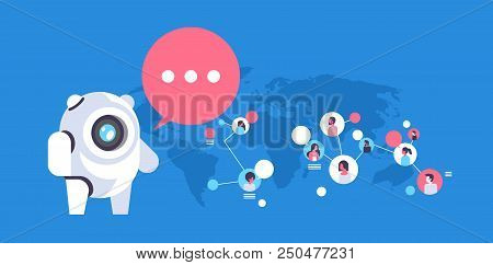 Chatbot Robot Speech Bubble People Avatar Global Communication Connection Artificial Intelligence Co
