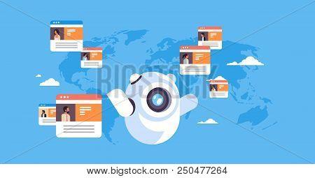 Robot Chatbot Online Messenger Global People Communication Application Concept Over World Map Backgr