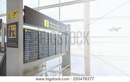 Timetable Display In A European Airport Showing Flights Departur