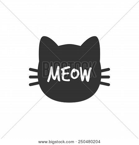 Cat. Meow. Cat Head Silhouette. Isolated Black Cat Vector Illustration