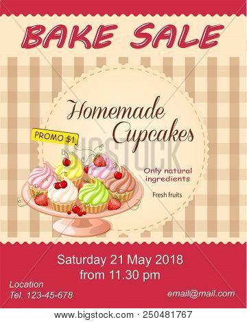 Colorful Flyer Template For Bake Sale Promotion Or Banner For Shop, Store, Cafeteria Or Bakery Cafe