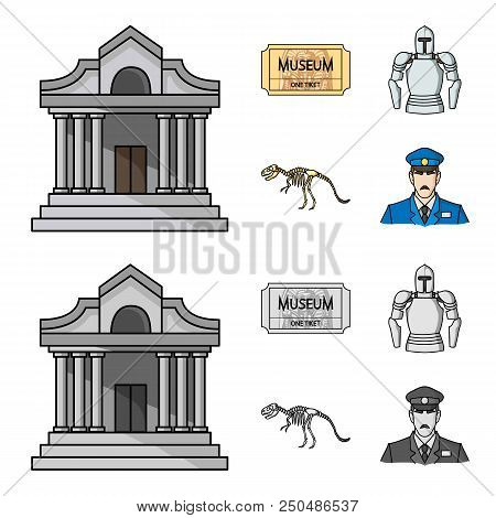Picture, Sarcophagus Of The Pharaoh, Walkie-talkie, Crown. Museum Set Collection Icons In Cartoon, M