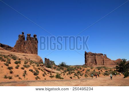 Sculpture Rocks In Arches National Park In Usa