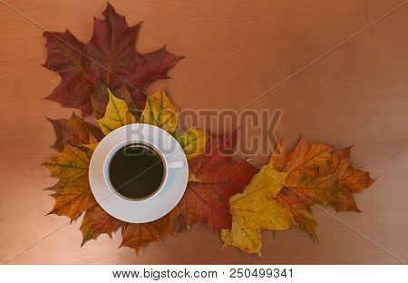 Cup Of Coffee With Autumn Maple Leaves On Wooden Background