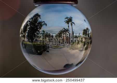 Fish Eye View Of Downtown Street Route Between Buildings And Palm Trees All The Way To The Ocean Hor